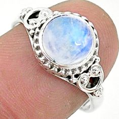925 silver 2.45cts solitaire natural rainbow moonstone round ring size 7 t6587