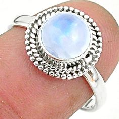 925 silver 2.42cts solitaire natural rainbow moonstone round ring size 7 t6624