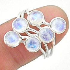 925 silver 4.89cts solitaire natural rainbow moonstone round ring size 8 t19195