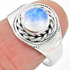 925 silver 2.27cts solitaire natural rainbow moonstone round ring size 8 t3544