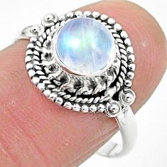 925 silver 2.44cts solitaire natural rainbow moonstone round ring size 8 t3548