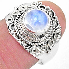 925 silver 2.53cts solitaire natural rainbow moonstone round ring size 8 t3560