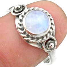 925 silver 2.43cts solitaire natural rainbow moonstone round ring size 8 t41256