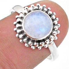 925 silver 3.29cts solitaire natural rainbow moonstone round ring size 8 t41298
