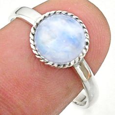 925 silver 2.95cts solitaire natural rainbow moonstone round ring size 8 t41379