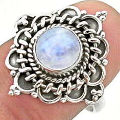 925 silver 2.70cts solitaire natural rainbow moonstone round ring size 8 t41393