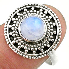 925 silver 2.54cts solitaire natural rainbow moonstone round ring size 8 t41434