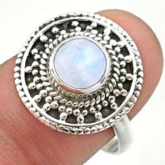 925 silver 2.39cts solitaire natural rainbow moonstone round ring size 8 t41440