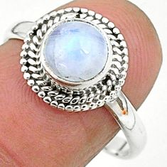 925 silver 2.42cts solitaire natural rainbow moonstone round ring size 8 t6563