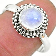 925 silver 2.29cts solitaire natural rainbow moonstone round ring size 8 t6574