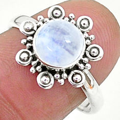 925 silver 2.22cts solitaire natural rainbow moonstone round ring size 8 t6577