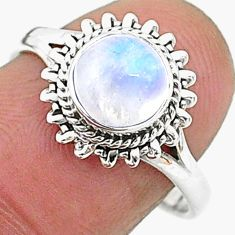 925 silver 2.56cts solitaire natural rainbow moonstone round ring size 8 t6580