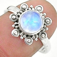 925 silver 2.78cts solitaire natural rainbow moonstone round ring size 8 t6599