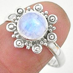 925 silver 2.56cts solitaire natural rainbow moonstone round ring size 8 t6605
