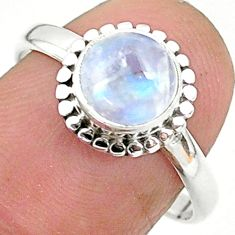 925 silver 2.70cts solitaire natural rainbow moonstone round ring size 8 t6630