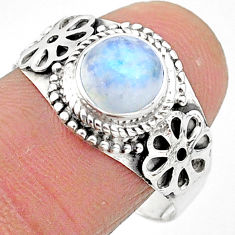 925 silver 2.43cts solitaire natural rainbow moonstone round ring size 9 t3551