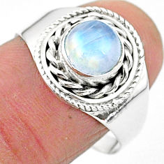 925 silver 2.27cts solitaire natural rainbow moonstone round ring size 9 t3554