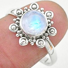 925 silver 2.42cts solitaire natural rainbow moonstone round ring size 9 t6608
