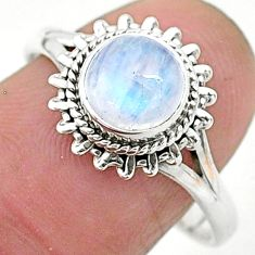 925 silver 2.45cts solitaire natural rainbow moonstone round ring size 9 t6619