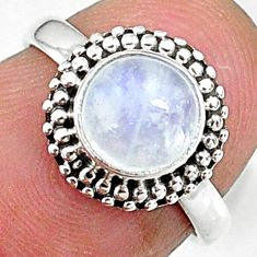 925 silver 2.42cts solitaire natural rainbow moonstone round ring size 5.5 t9160