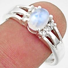 925 silver 2.09cts solitaire natural rainbow moonstone topaz ring size 9 r40797