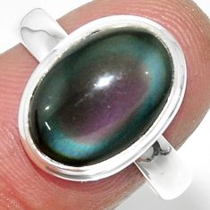 925 silver 6.70cts solitaire natural rainbow obsidian eye ring size 8.5 r51327