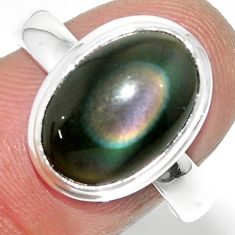 925 silver 6.72cts solitaire natural rainbow obsidian eye ring size 8.5 r51344