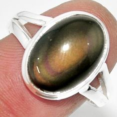 925 silver 6.57cts solitaire natural rainbow obsidian eye ring size 8.5 r51348