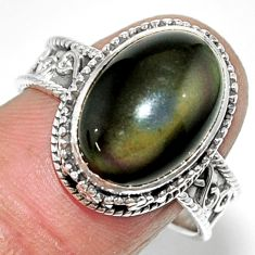 925 silver 6.57cts solitaire natural rainbow obsidian eye ring size 8.5 r52016