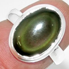 925 silver 6.39cts solitaire natural rainbow obsidian eye ring size 6 r51331