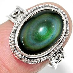 925 silver 6.80cts solitaire natural rainbow obsidian eye ring size 7 r52004