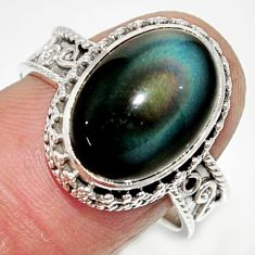 925 silver 7.02cts solitaire natural rainbow obsidian eye ring size 8 r52019
