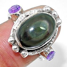 925 silver 7.73cts solitaire natural rainbow obsidian eye ring size 8 t10420