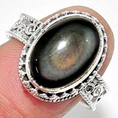 925 silver 6.80cts solitaire natural rainbow obsidian eye ring size 9 r52007