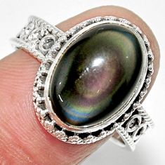 925 silver 7.38cts solitaire natural rainbow obsidian eye ring size 9 r52012