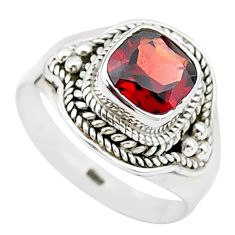 925 silver 2.55cts solitaire natural red garnet cushion ring size 8 t23296