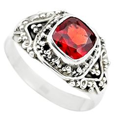 925 silver 2.55cts solitaire natural red garnet cushion ring size 9 t23154