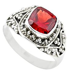 925 silver 2.72cts solitaire natural red garnet cushion ring size 7.5 t23144