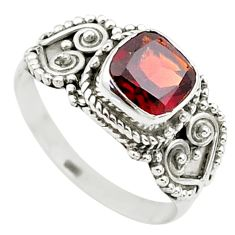 925 silver 2.58cts solitaire natural red garnet cushion ring size 8.5 t23288