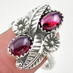 925 silver 4.54cts solitaire natural red garnet oval flower ring size 8 t25276