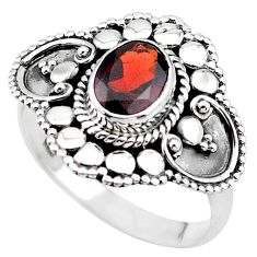 925 silver 2.00cts solitaire natural red garnet oval ring size 6.5 t19935