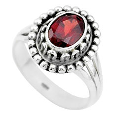 925 silver 1.88cts solitaire natural red garnet oval shape ring size 7 t5369