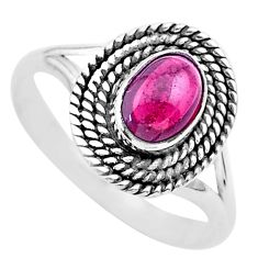 925 silver 0.93cts solitaire natural red garnet oval shape ring size 6.5 t26183
