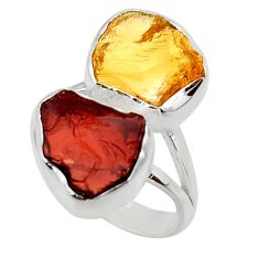 925 silver 12.06cts solitaire natural red garnet rough ring size 7.5 r49180