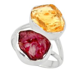 925 silver 14.72cts solitaire natural red garnet rough ring size 8 r49177