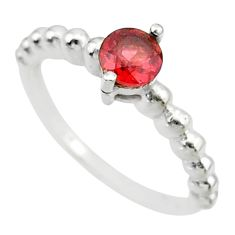 925 silver 0.99cts solitaire natural red garnet round shape ring size 7 r87217