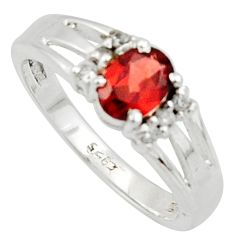 925 silver 1.96cts solitaire natural red garnet topaz oval ring size 8 r40787