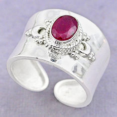 925 silver 1.46cts solitaire natural red ruby oval adjustable ring size 7 t32248
