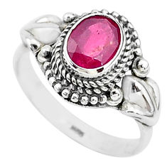 925 silver 1.90cts solitaire natural red ruby oval ring jewelry size 9 t5344