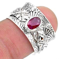 925 silver 0.64cts solitaire natural red ruby oval spinner ring size 5.5 t31450